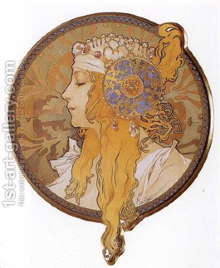 Byzantine Head: The Blonde. 1897 by Alphonse Maria Mucha - Reproduction Oil Painting