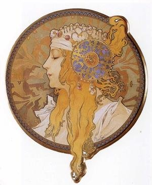 Reproduction oil paintings - Alphonse Maria Mucha - Byzantine Head: The Blonde. 1897