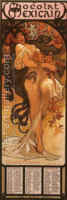 The Four Seasons: Autumn. 1897 by Alphonse Maria Mucha - Reproduction Oil Painting
