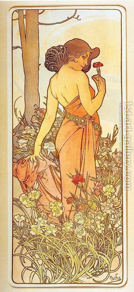 Alphonse Maria Mucha: Carnation. From The Flowers Series. 1898 - reproduction oil painting
