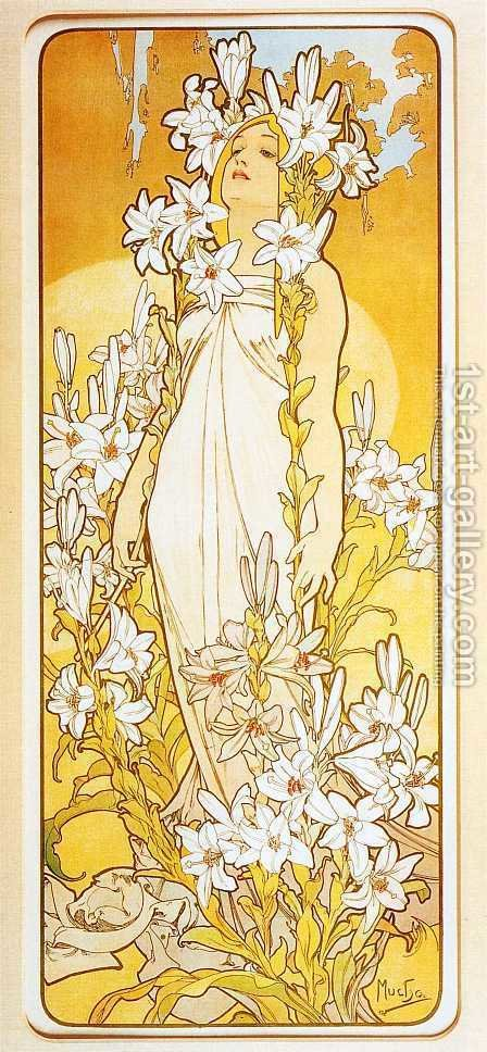 Lily. From The Flowers Series. 1898 by Alphonse Maria Mucha - Reproduction Oil Painting