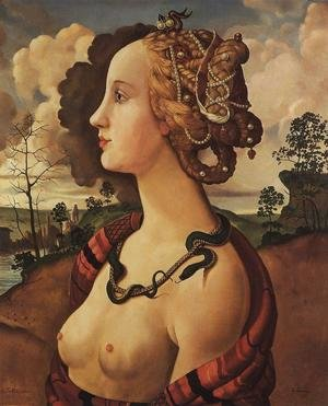 Famous Paintings in Ashmolean Museum, Oxford, UK: Copy of Simonetta Vespucci (1453-76) by Sandro Botticelli (1444-5-1510)