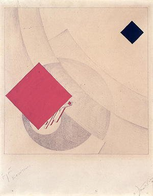 Constructivism painting reproductions: Study for 'This is the end' from the 'Story of Two Squares', 1920