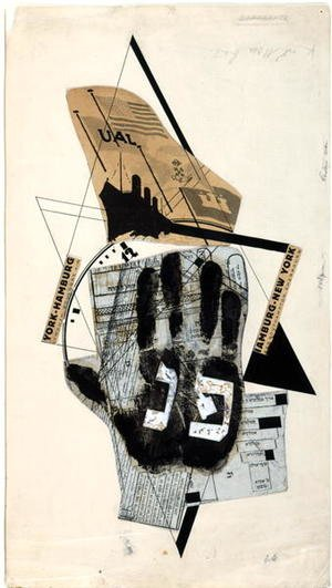 Constructivism painting reproductions: 'Sihfs Karta' (Boat Ticket) an illustration from 'Six Stories with Easy Endings'  1922