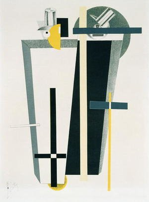 Constructivism painting reproductions: Abstract composition in grey, yellow and black