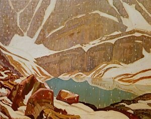 Group of Seven painting reproductions: Mountain Snowfall Lake Oesa 1932