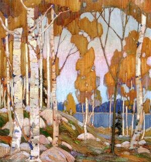 Group of Seven painting reproductions: Decorative Landscape Birches 1915