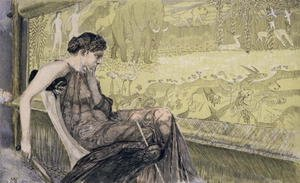 Max Klinger reproductions - Penelope weaving a shroud for Laertes her father-in-law while she awaits the return of her husband Odysseus, 1895