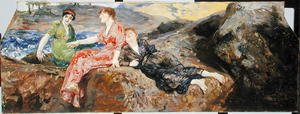 Reproduction oil paintings - Max Klinger - Girls on the Shore, c.1884-85