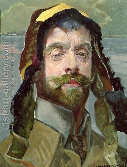 Self Portrait with Phrygian Hat, 1907 by Jacek Malczewski - Reproduction Oil Painting