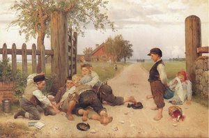 Famous paintings of Villages: Grindslanten 1885