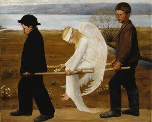Famous paintings of Fantasy, Mythology, Sci-Fi: The Wounded Angel from 1903