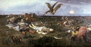 Famous paintings of Knights & Warriors: After the Battle between Prince Igor Svyatoslavich of Kiev and the Polovtsy, 1880