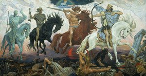 Famous paintings of Horses & Horse Riding: The Four Horsemen of the Apocalypse, 1887