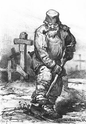 Famous paintings of Cemeteries: Grave-digger. 1871