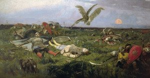 Famous paintings of Knights & Warriors: The field of Igor Svyatoslavich's battle with the Polovtsy, 1889
