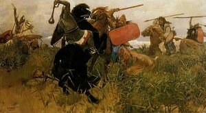 Famous paintings of Horses & Horse Riding: Fight of Scythians and Slavs