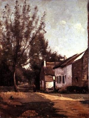 Reproduction oil paintings - Jean-Baptiste-Camille Corot - Saules et Chaumieres