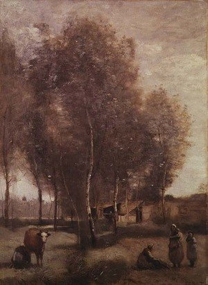 Reproduction oil paintings - Jean-Baptiste-Camille Corot - St.Catherine-les-Arras-Fields with trees and cottages