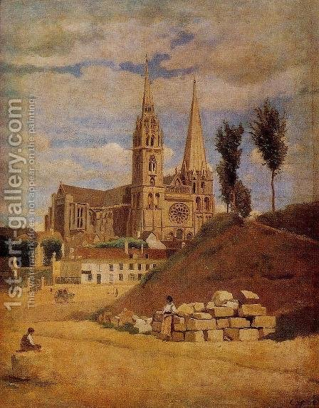 Jean-Baptiste-Camille Corot: Chartres Cathedral, 1830 - reproduction oil painting