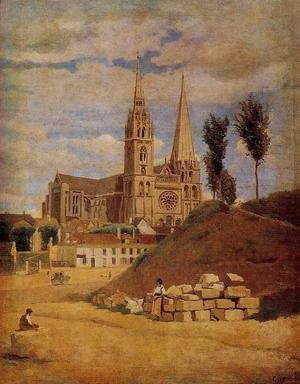 Reproduction oil paintings - Jean-Baptiste-Camille Corot - Chartres Cathedral, 1830