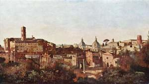 Reproduction oil paintings - Jean-Baptiste-Camille Corot - The Forum seen from the Farnese Gardens, Rome, 1826