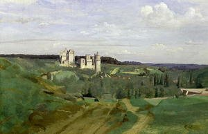 Reproduction oil paintings - Jean-Baptiste-Camille Corot - View of the Chateau de Pierrefonds, c.1840-45