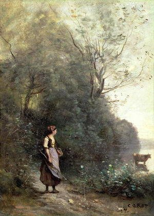 Reproduction oil paintings - Jean-Baptiste-Camille Corot - A Peasant Woman Grazing a Cow at the Edge of a Forest