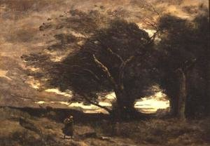 Reproduction oil paintings - Jean-Baptiste-Camille Corot - Gust of Wind, 1866