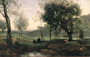 Reproduction oil paintings - Jean-Baptiste-Camille Corot - Sunset- Figures Under Trees