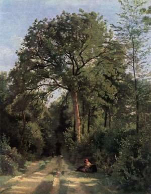 Reproduction oil paintings - Jean-Baptiste-Camille Corot - Ville d'Avray (Entrance to the Wood), c.1823-25