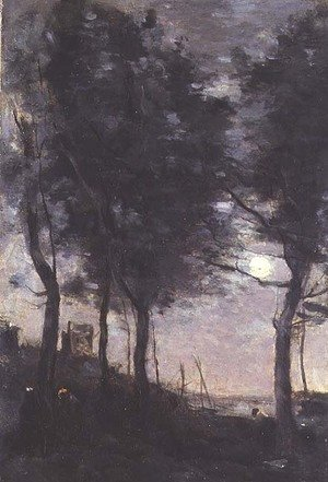Reproduction oil paintings - Jean-Baptiste-Camille Corot - Moonlight by the sea