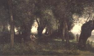 Reproduction oil paintings - Jean-Baptiste-Camille Corot - Man Scything by a Willow Plot, c.1855-60