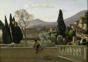 Reproduction oil paintings - Jean-Baptiste-Camille Corot - The Gardens of the Villa d'Este, Tivoli, 1843