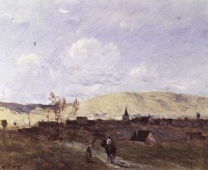 Reproduction oil paintings - Jean-Baptiste-Camille Corot - Cavalier in sight of a Village, 1872
