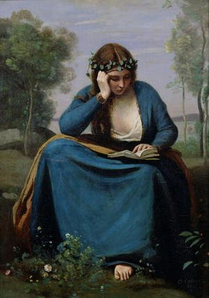 Reproduction oil paintings - Jean-Baptiste-Camille Corot - The Reader Crowned with Flowers, or Virgil's Muse, 1845