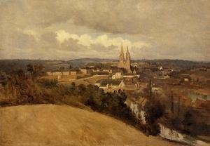 Reproduction oil paintings - Jean-Baptiste-Camille Corot - General View of the Town of Saint-Lo, c.1833