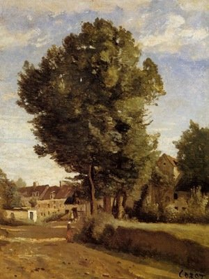 Reproduction oil paintings - Jean-Baptiste-Camille Corot - Outskirts of a village near Beauvais, c.1850