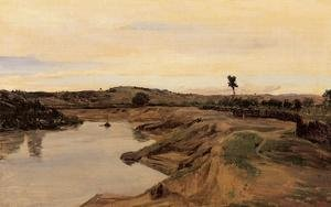 Reproduction oil paintings - Jean-Baptiste-Camille Corot - The Promenade du Poussin or, Roman Campagna, c.1826-28
