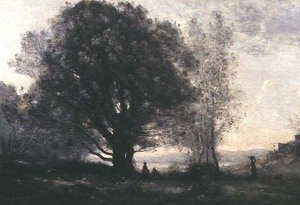 Reproduction oil paintings - Jean-Baptiste-Camille Corot - The Green-oaks in the Valley (Les Chenes-verts Dans La Vallee)