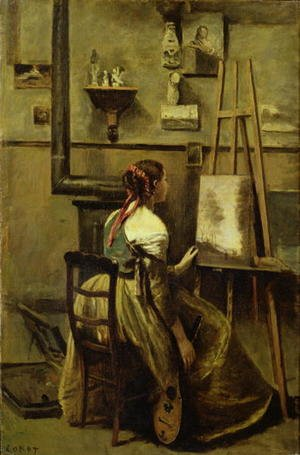 Reproduction oil paintings - Jean-Baptiste-Camille Corot - The Studio of Corot, or Young woman seated before an Easel, 1868-70