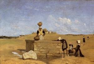Reproduction oil paintings - Jean-Baptiste-Camille Corot - Breton Women at the Well near Batz, c.1842