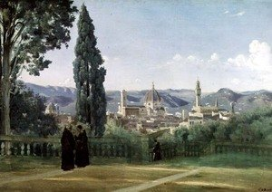 Famous paintings of Palisades: View of Florence from the Boboli Gardens, c.1834-36