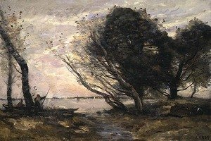 Reproduction oil paintings - Jean-Baptiste-Camille Corot - The Banks of the Lake after the Flood, c.1870