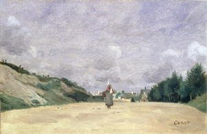 Reproduction oil paintings - Jean-Baptiste-Camille Corot - A Road in Normandy, c.1860-65