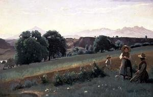 Reproduction oil paintings - Jean-Baptiste-Camille Corot - Landscape at Mornex, c.1842
