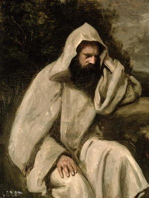 Reproduction oil paintings - Jean-Baptiste-Camille Corot - Portrait of a Monk, c.1840-45