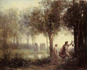Jean-Baptiste-Camille Corot reproductions - Orpheus Leading Eurydice from the Underworld, 1861