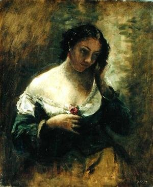 Reproduction oil paintings - Jean-Baptiste-Camille Corot - The Girl With The Rose, c.1865