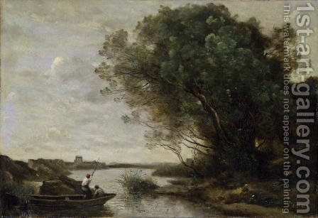 River Landscape by Jean-Baptiste-Camille Corot - Reproduction Oil Painting